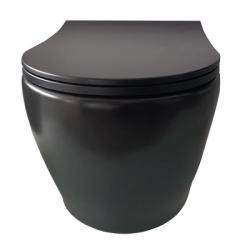 SAMCRO RONDO WC školjka viseća, RIMLESS, bez bočnih otvora, mat crna