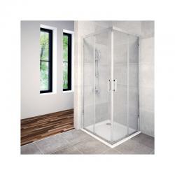 AQUAESTIL SAVANA Kvadratna tuš kabina, 80 - 100 cm, dvoja klizna vrta, bijela, prozirno staklo