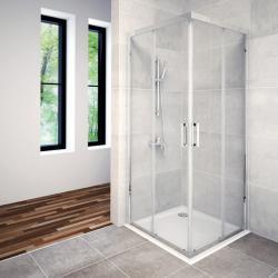 AQUAESTIL SAVANA Kvadratna tuš kabina, 80 - 100 cm, dvoja klizna vrta, srebrna, prozirno staklo