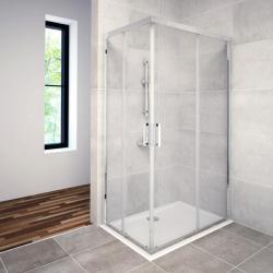 AQUAESTIL SAVANA D+D Pravokutna tuš kabina, 80 - 120 cm, dvoja klizna vrata, bijela, prozirno staklo