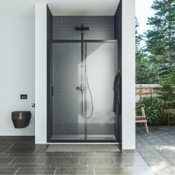 AQUAESTIL SAVANA D Tuš vrata za nišu, 100 - 150 cm, klizna, crna, prozirno staklo