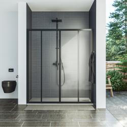 AQUAESTIL SAVANA 2D Tuš vrata za nišu, 160 - 200 cm, klizna, crna, prozirno staklo