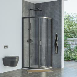 AQUAESTIL SAVANA Polukružna tuš kabina, crna, prozirno staklo, 80x80, 90x90 i 100x100 cm