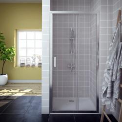 AQUAESTIL SAVANA D Tuš vrata za nišu, 100 - 150 cm, klizna, bijela, prozirno staklo