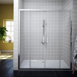 AQUAESTIL SAVANA 2D Tuš vrata za nišu, 160 - 200 cm, klizna, srebrna, prozirno staklo