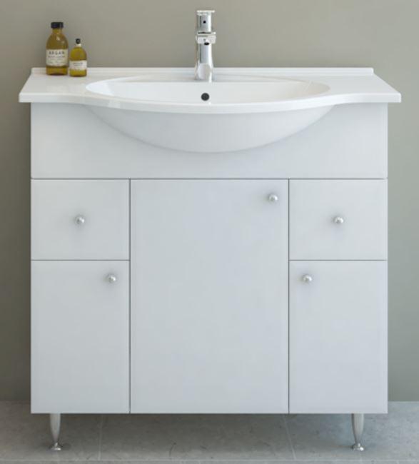AQUAESTIL LIDIJA 80, 85x35x80 cm, kupaonska baza s umivaonikom, 3 vrata i 2 ladice, bijela