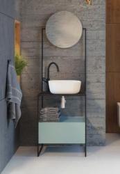 ARMAL KALA, 60x50x185 cm, stojeća kupaonska baza bez umivaonika, s ogledalom, jedna ladica