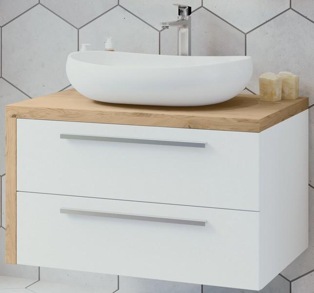 ARMAL ZETA, 84x53,5x48 cm, viseća kupaonska baza s umivaonikom, dvije ladice, lijeva bočnica