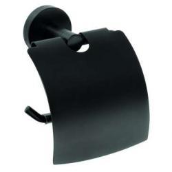 AQUAESTIL NERO Držač WC papira sa poklopcem, mat crni
