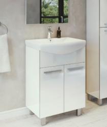 ARMAL NEVA, 55/65/75/86x43,5/46/48/51,5x85 cm, stojeća kupaonska baza s umivaonikom, bijela sjaj