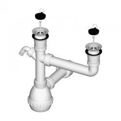 LIV Sifon za sudoper, dvodijelni, PVC, s priključkom za perilicu, 70 mm
