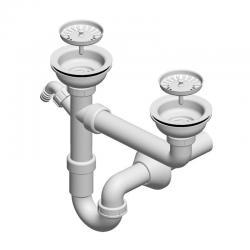 LIV Sifon za sudoper, 1/1, pravokutni preljev, s priključkom za perilicu, 115 mm