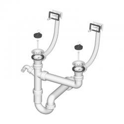 LIV Sifon za sudoper, dvodijelni, PVC, pravokutni preljev, s priključkom za perilicu, 70 mm