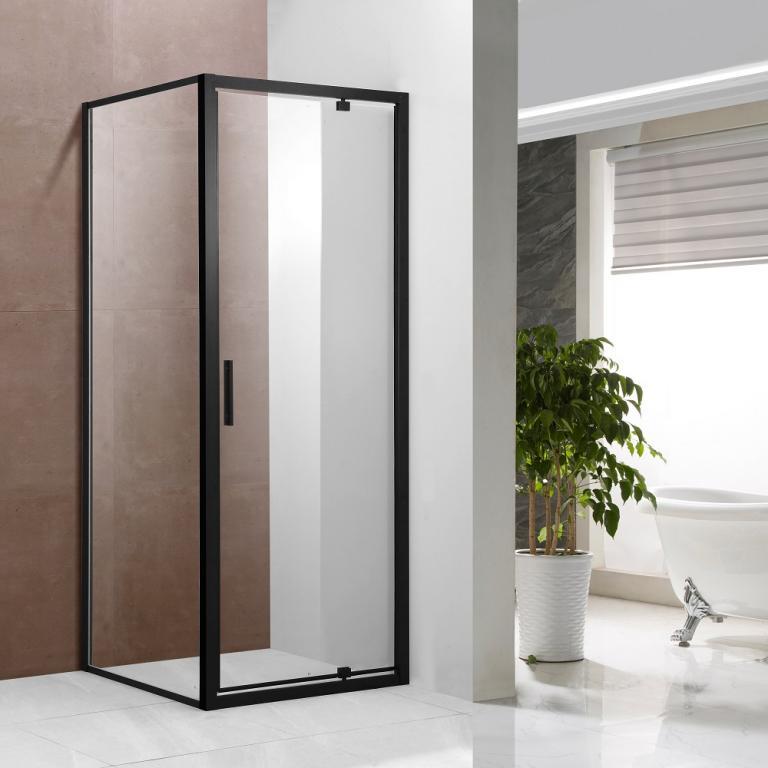 SAMCRO BLACK Tu¹ kabina kvadratna, transparent, crno 80x80x190 cm, vrata + stijena
