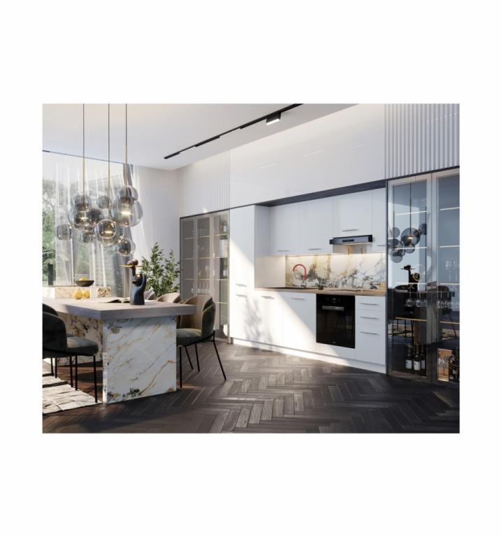 NORD Lovely blok kuhinja, 2,80 m, bijela/bijela