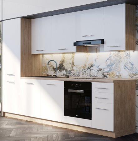 NORD Lovely blok kuhinja, 2,80 m, bijela/hrast
