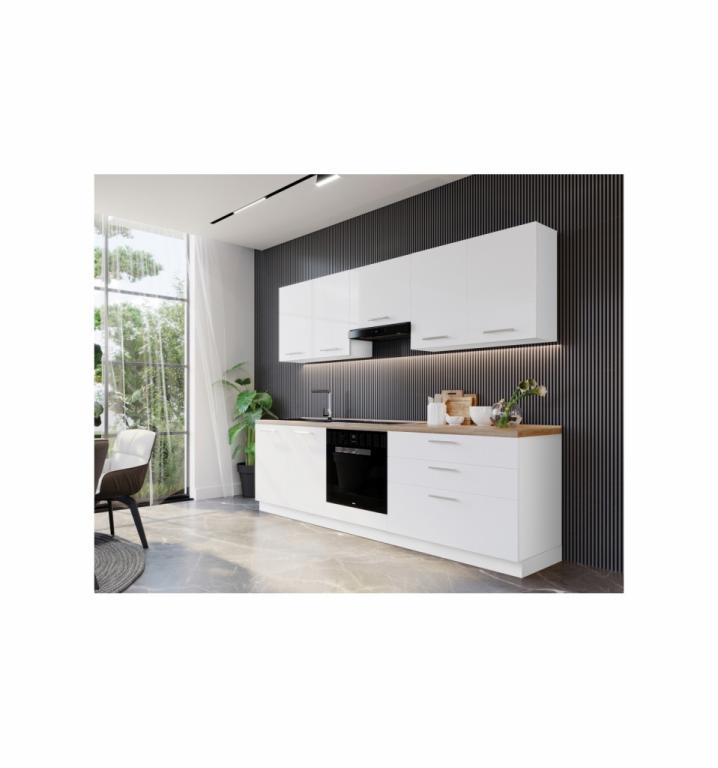 NORD Happy blok kuhinja, 2,40 m, bijela/bijela