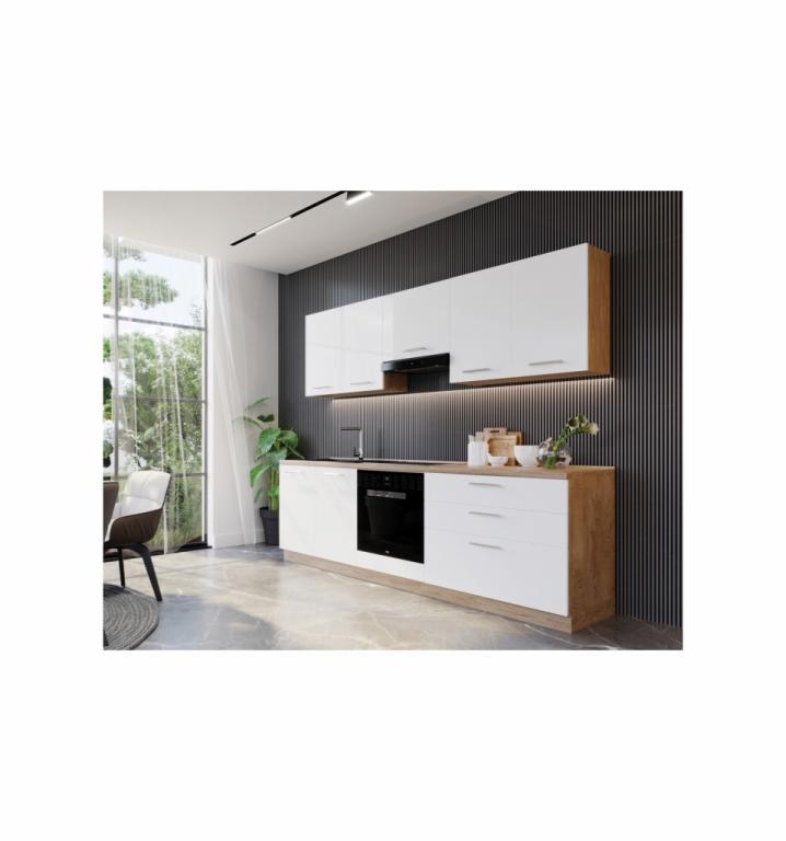 NORD Happy blok kuhinja, 2,40 m, bijela/hrast