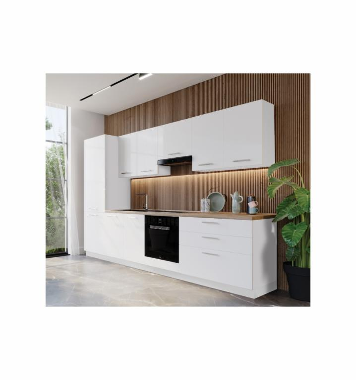 NORD Beauty blok kuhinja, 3 m, bijela/bijela