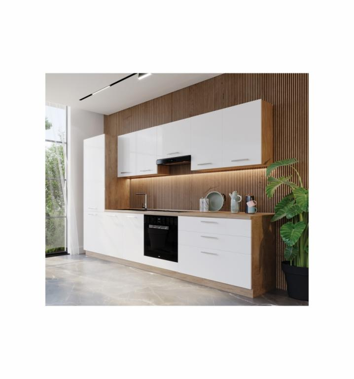 NORD Beauty blok kuhinja, 3 m, bijela/hrast