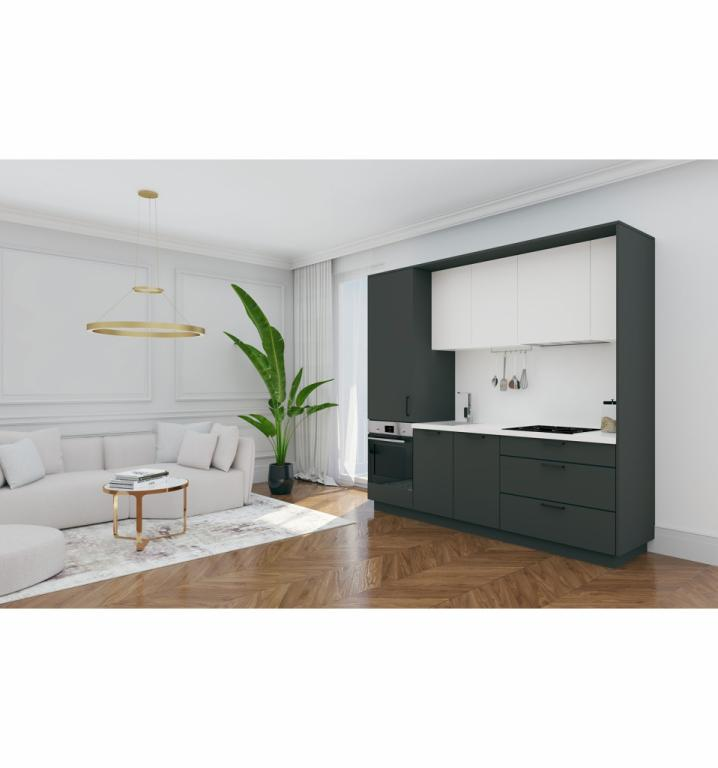 NORD kuhinja by Mirjana Mikulec - 242 cm, antracit/bijela